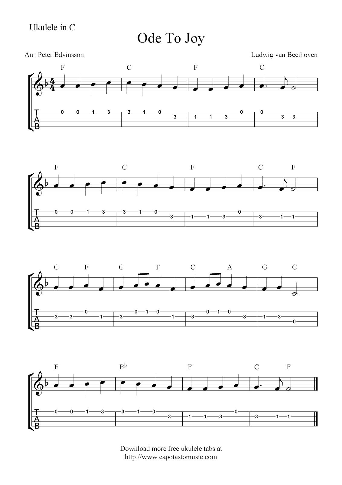 Free Sheet Music Scores Ode To Joy Free Ukulele Tab