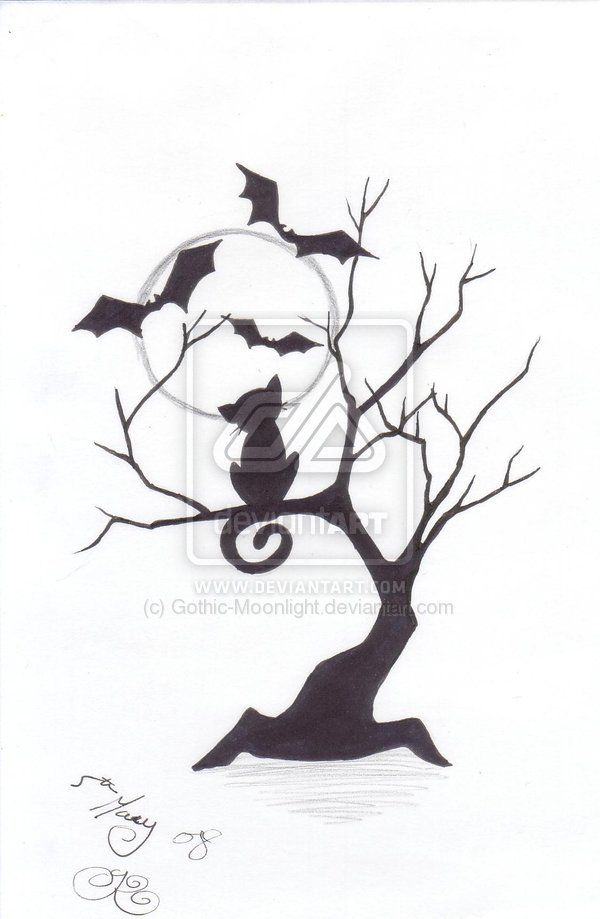 One Spooky Night By Gothic Moonlight On DeviantART Would Be Cool To Get The Cat In The Tree