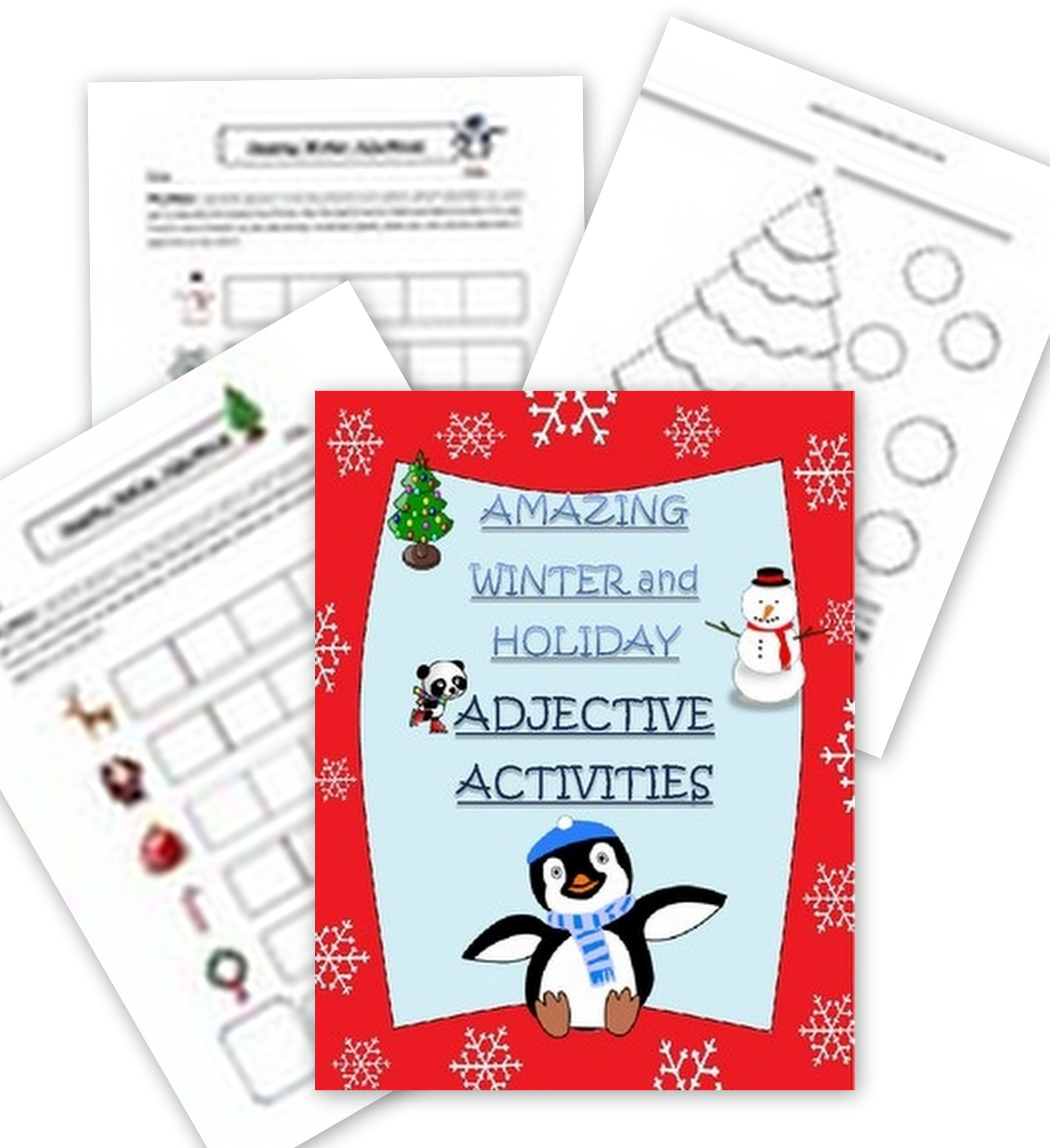 Winter Holiday And Christmas Adjectives Worksheets And