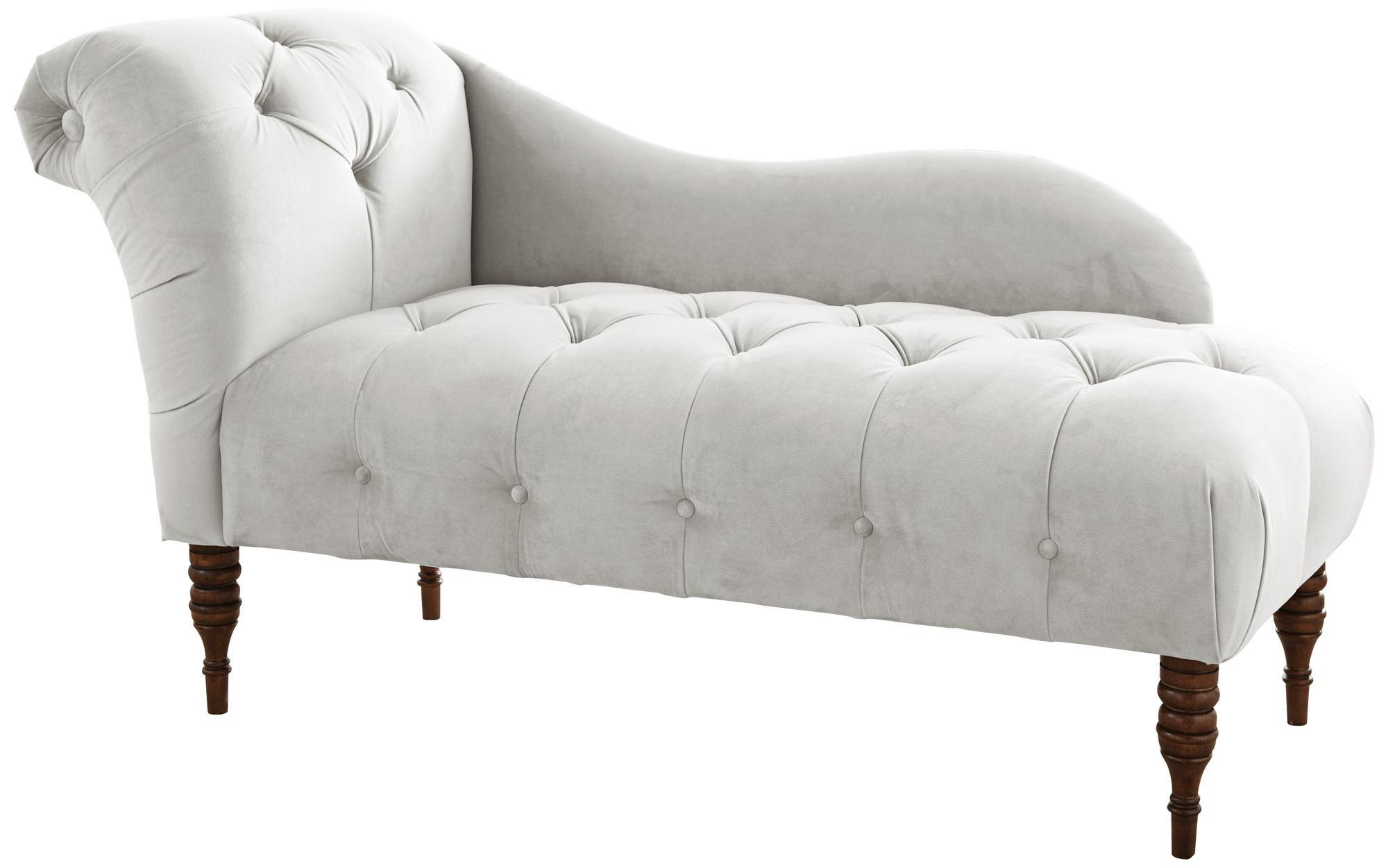 White Velvet Upholstered Chaise Lounge Chair Style