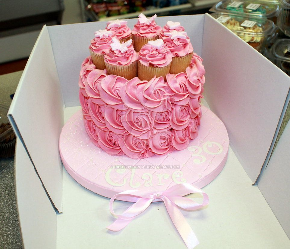 Ladies 30th Birthday Cake with Pink Buttercream Roses