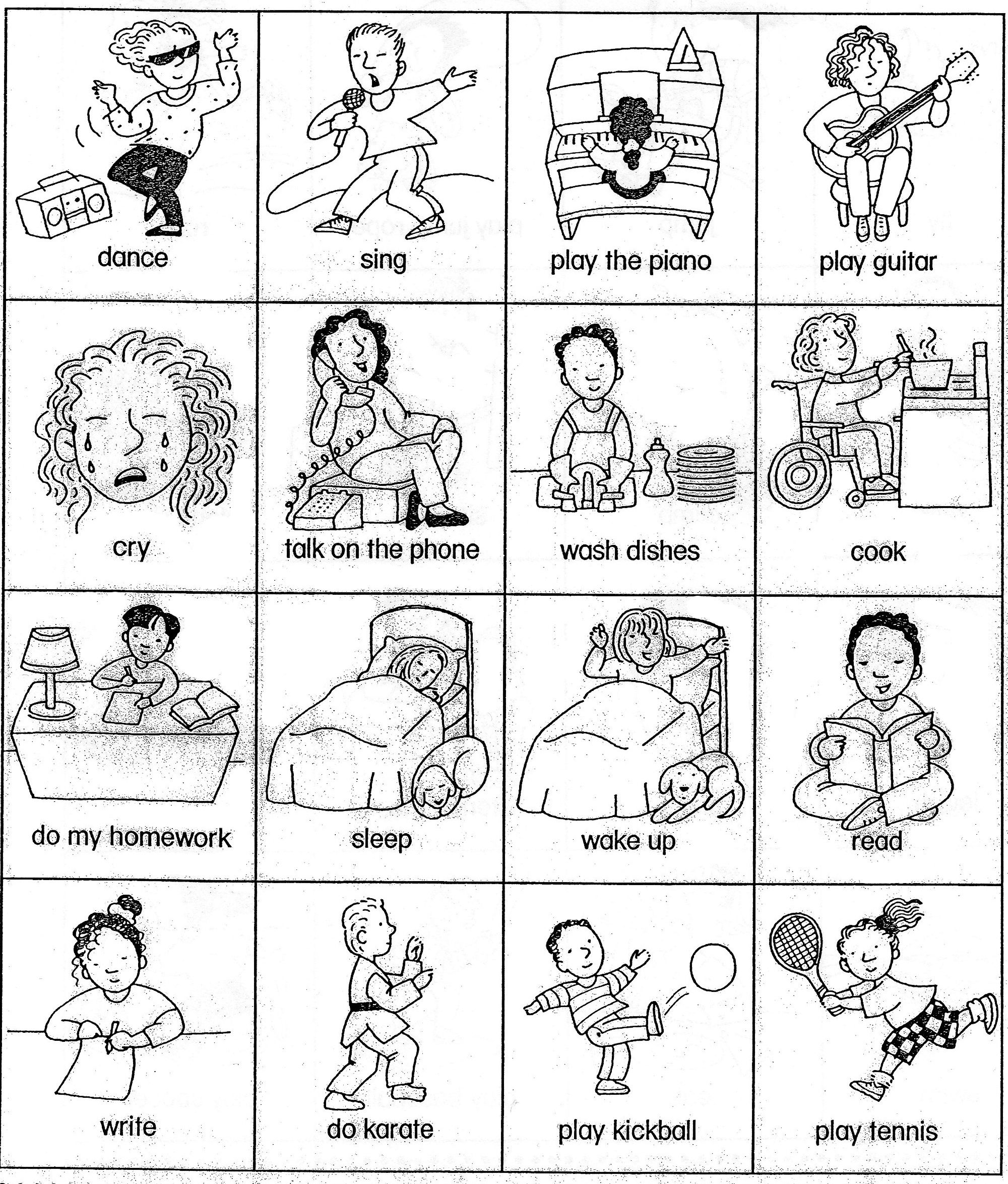 Action Verbs Coloring Sheets