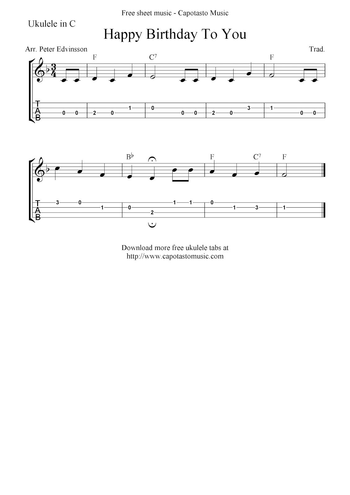 Happy Birthday To You Free Ukulele Tab Sheet Music