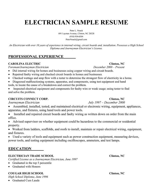 Free Sample Electrician Apprentice Resume. Resume Sample