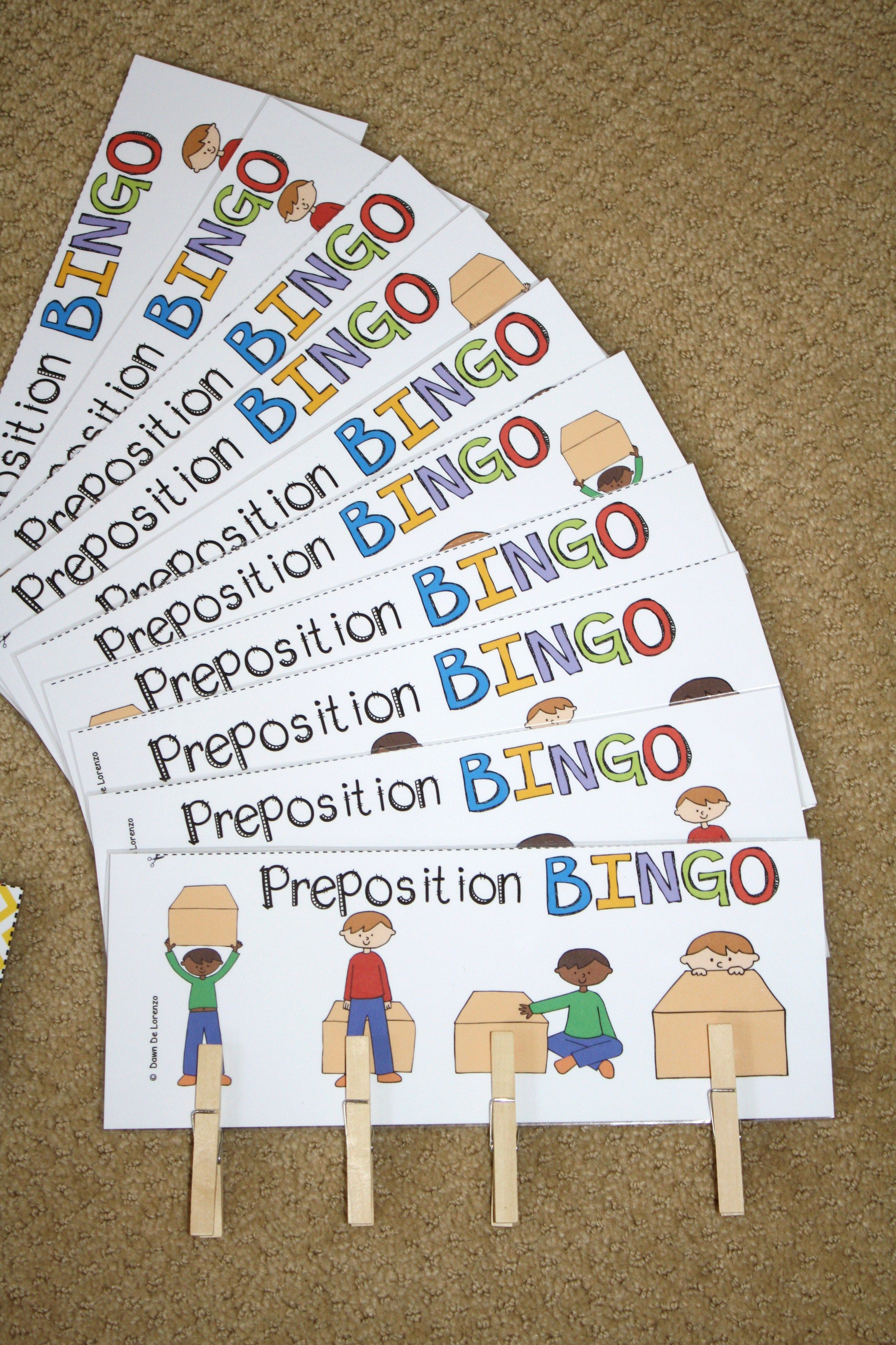 Preposition Bingo Prepositions And Listening For Details