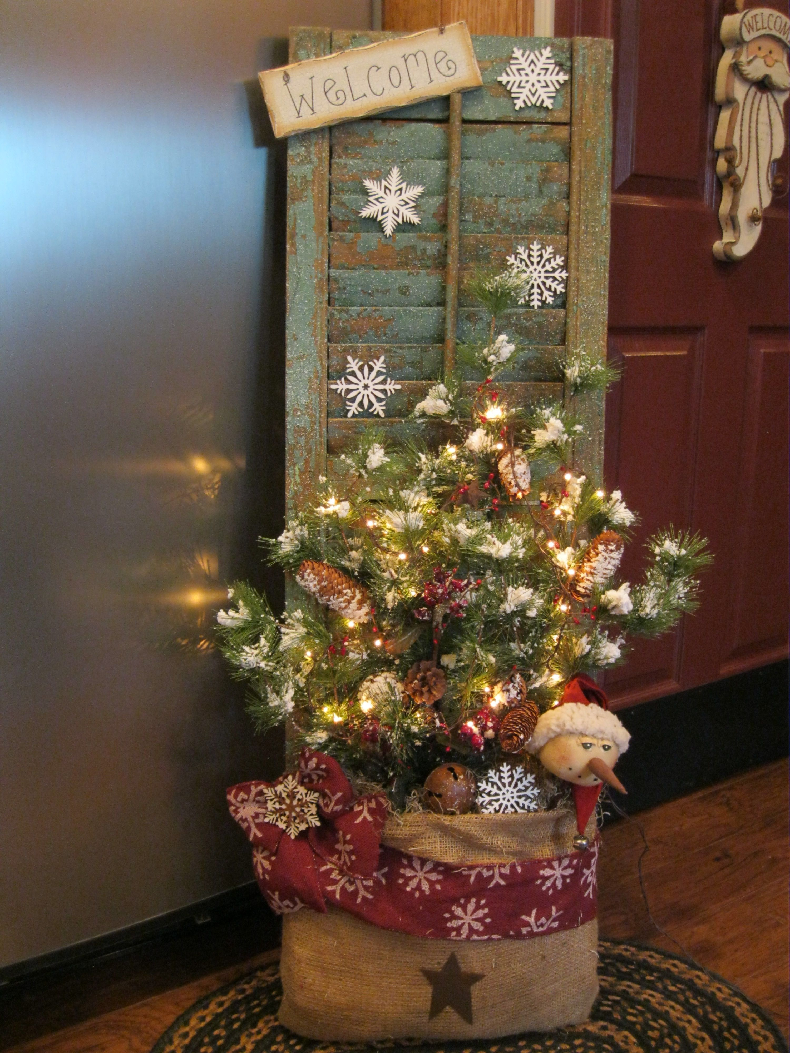 Christmas Shutter in a Burlap Bag shutter ideas