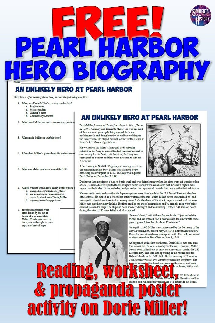 FREE Pearl Harbor teaching resource! Includes a reading
