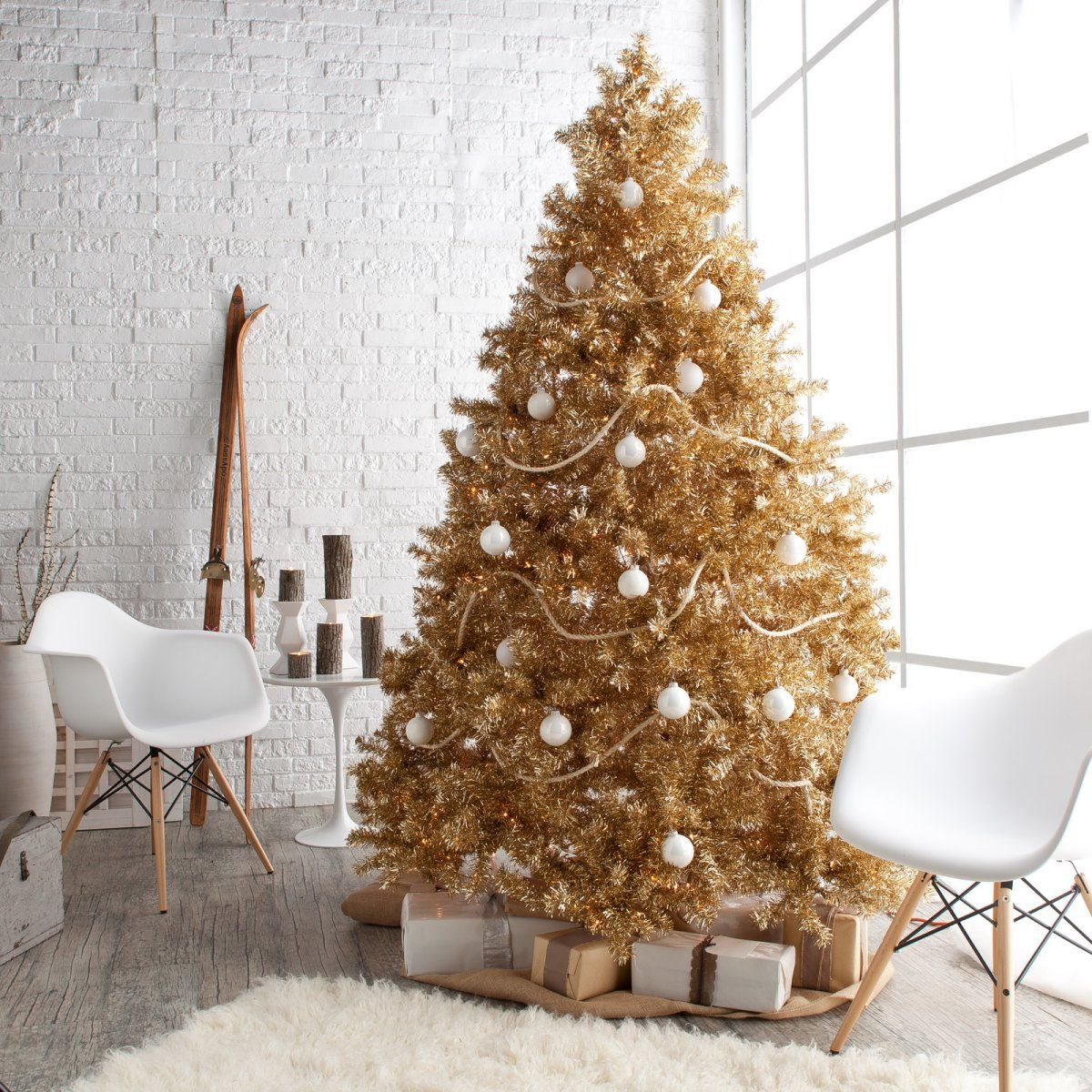 Classic Champagne Full Prelit Christmas Tree 7.5 ft.. I