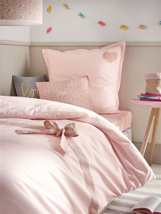 HOUSSE DE COUETTE PARURE LIBERTY COUTURE RAYE ROSE