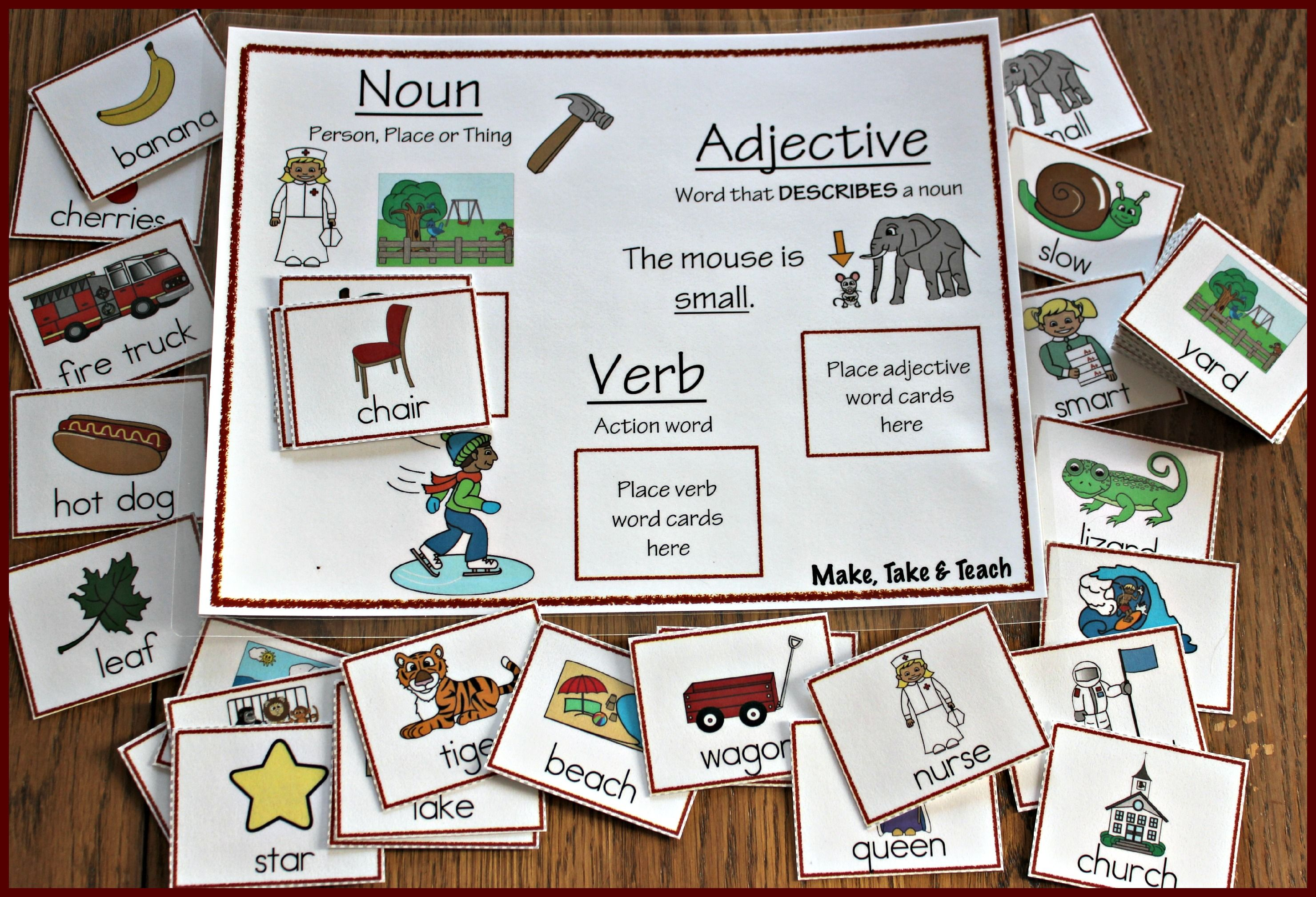 Nouns Verbs And Adjectives Great Activity For Either