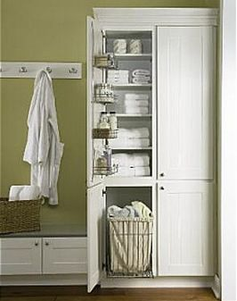 love this for the laundry room storage with a taller counter area