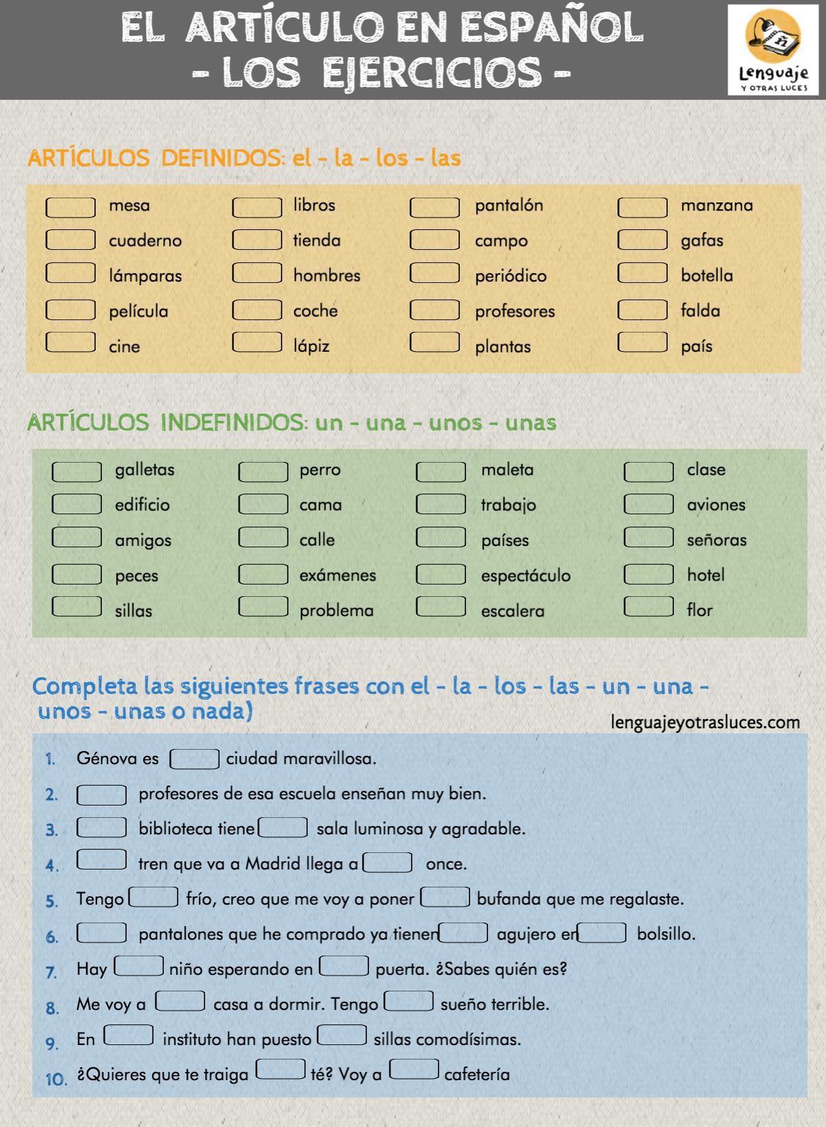 Ejercicios Articulo En Espanol
