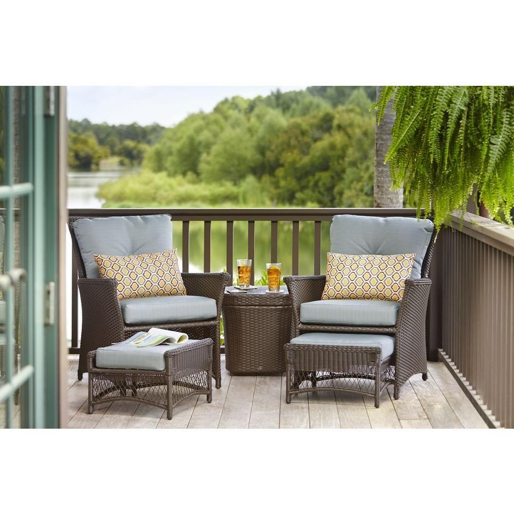 Hampton Bay Blue Hill 5Piece Patio Conversation Set with