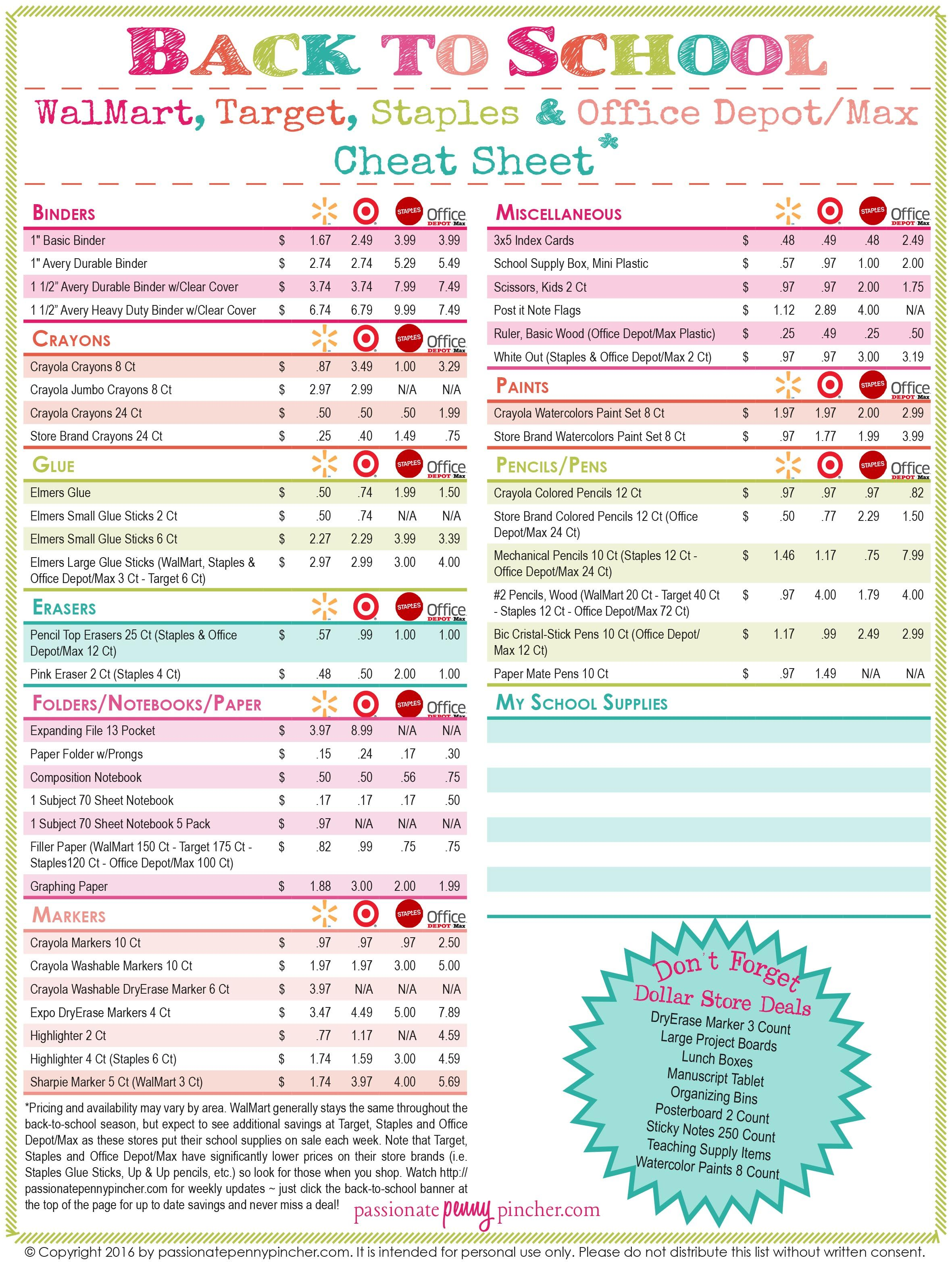 Back To School Cheat Sheet Where To Get The Best Deals On
