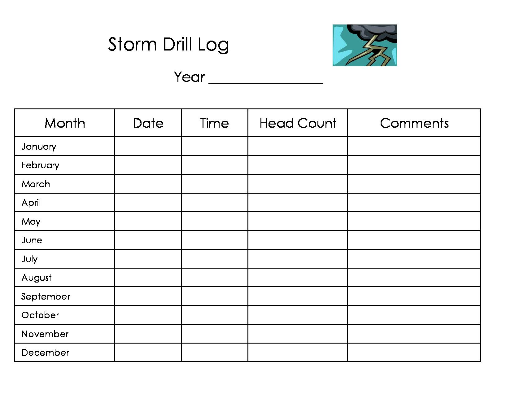 Free Printable Daycare Storm Drill Log Form