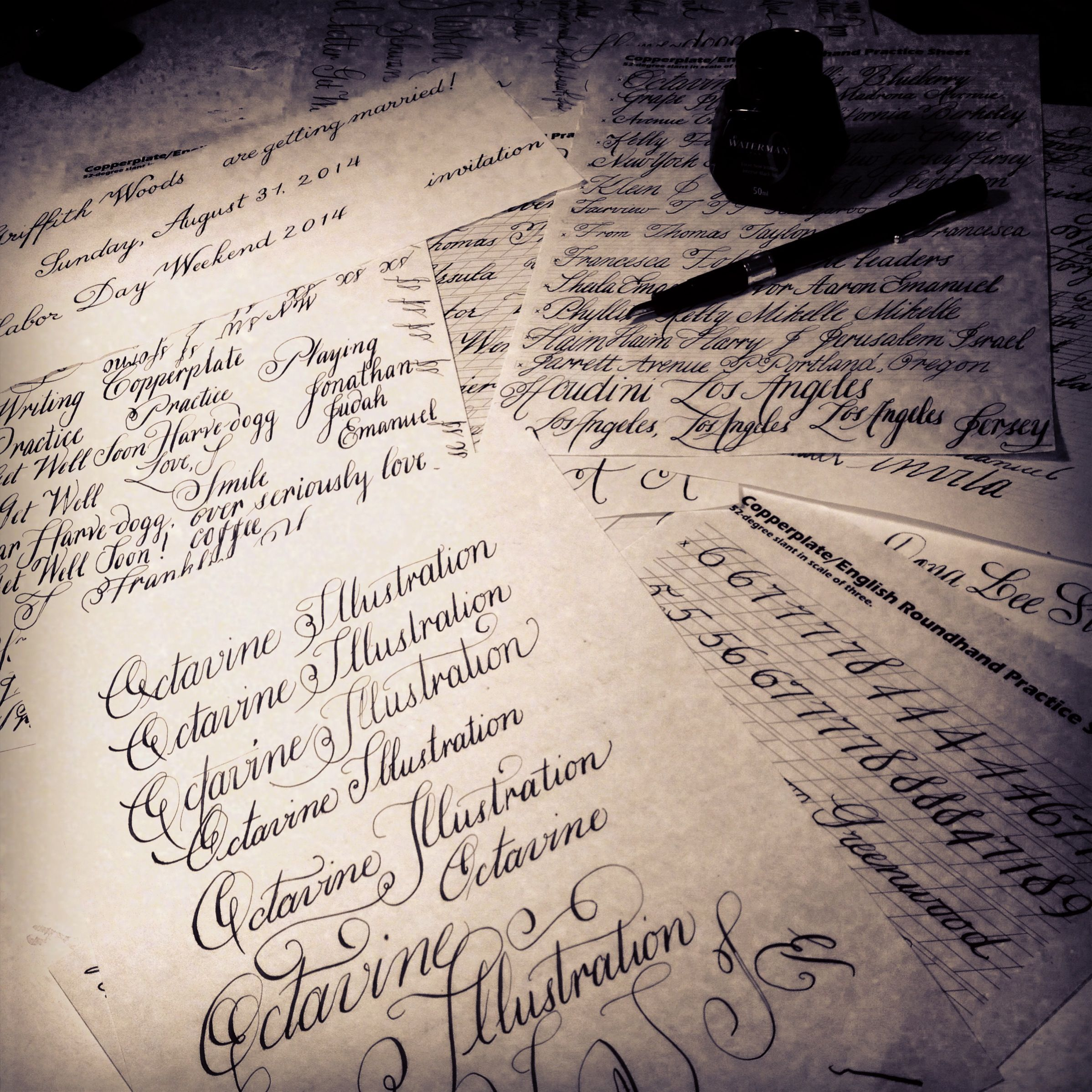 Copperplate Calligraphy Practice Sheets By Cara Buchalter Of Octavine Illustration S Left