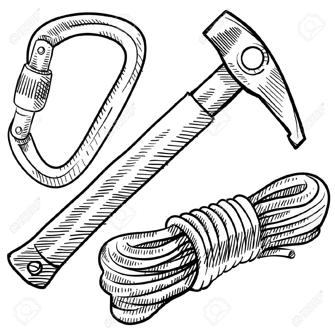 Doodle Style Mountain Climbing Gear Including Rope Pick