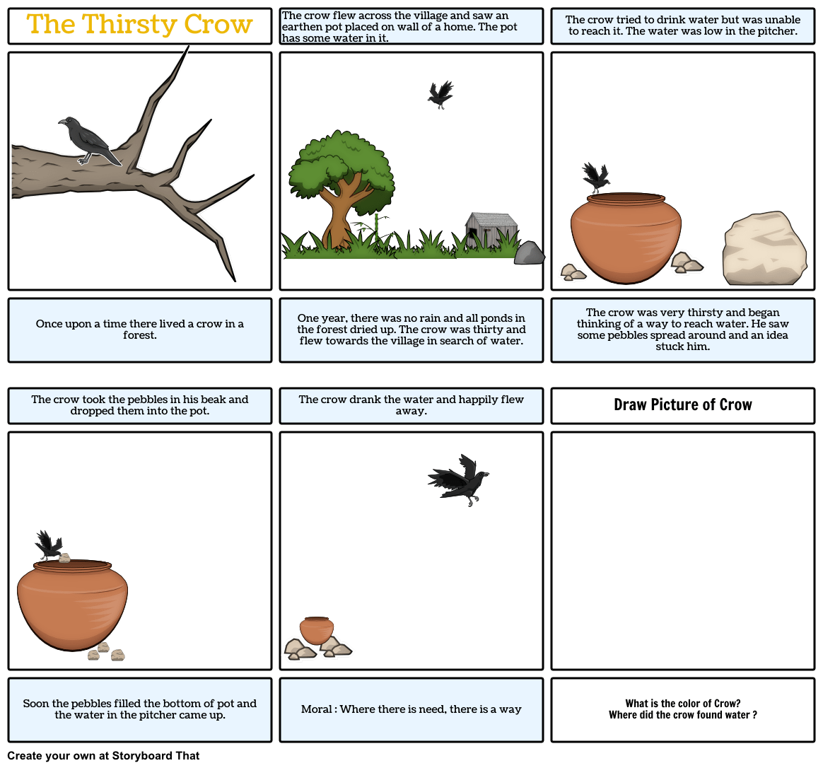 The Thirsty Crow Storyboard By Thewheeloflearning