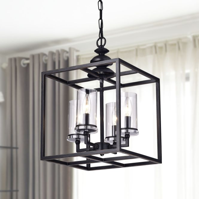 La Pedriza Antique Black Lantern Chandelier With Clear Glass Cylinders 19000076 Great Deals On The Lighting Chandeliers Pendants