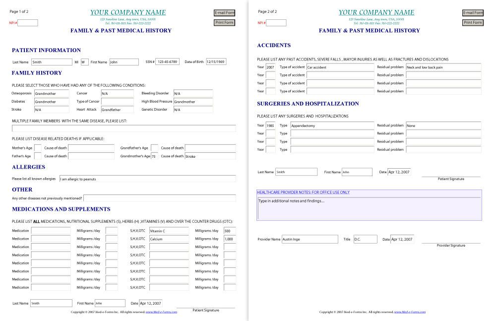Medical Record Form Template release 10 free samples examples – Free Printable Doctor Forms