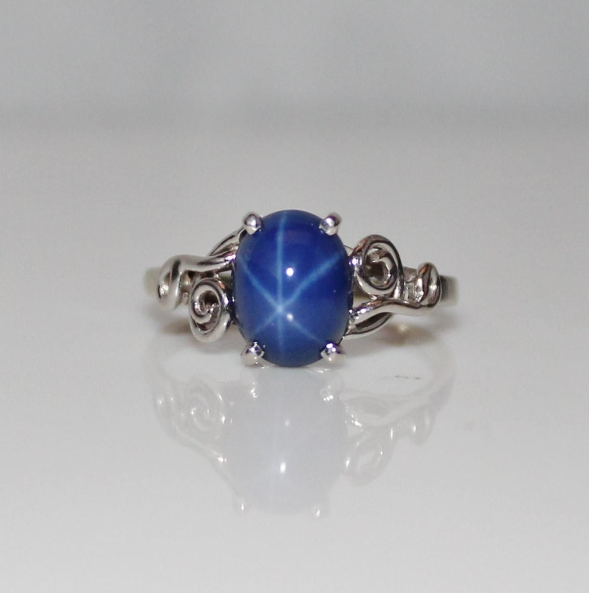Vintage Estate 14k White Gold Blue Star Sapphire Ring