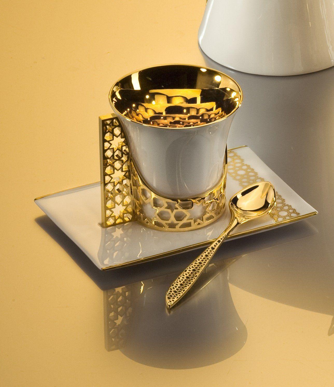 18K Gold Plated Arabesque Fine Bone China