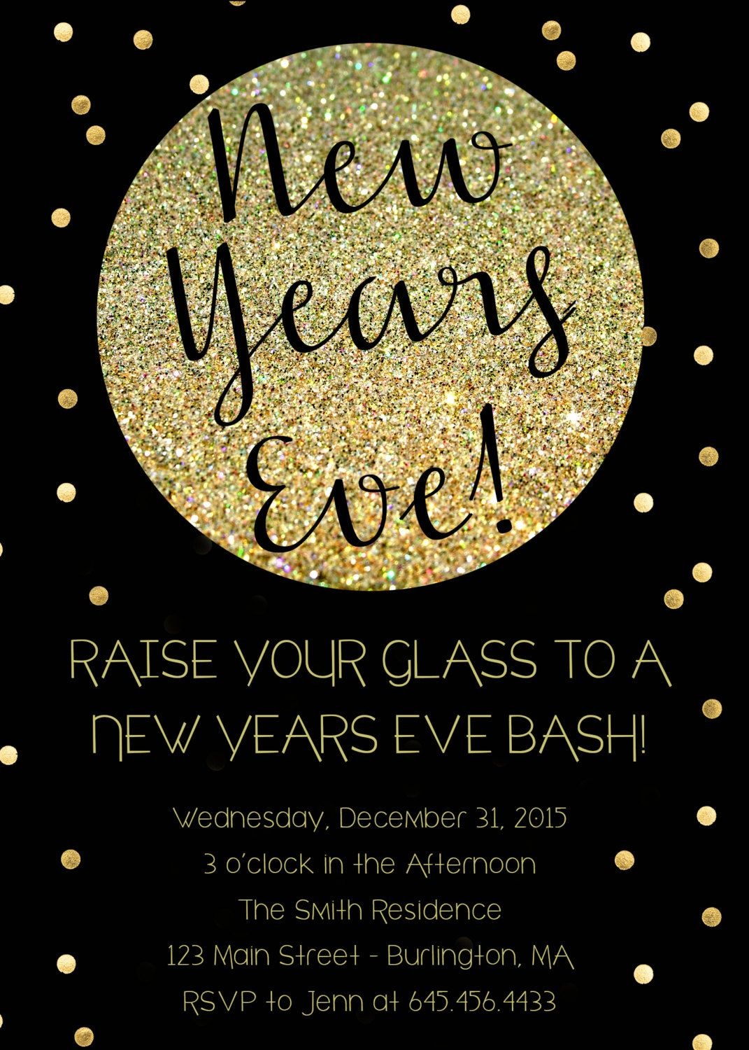New Years Eve Party Invitation in Black and Gold Glitter