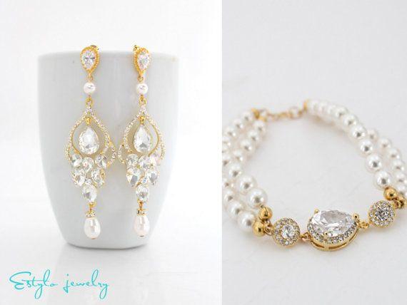 Gold Chandelier Earrings And Bracelet Set Bridal Jewelry Pearl Statement