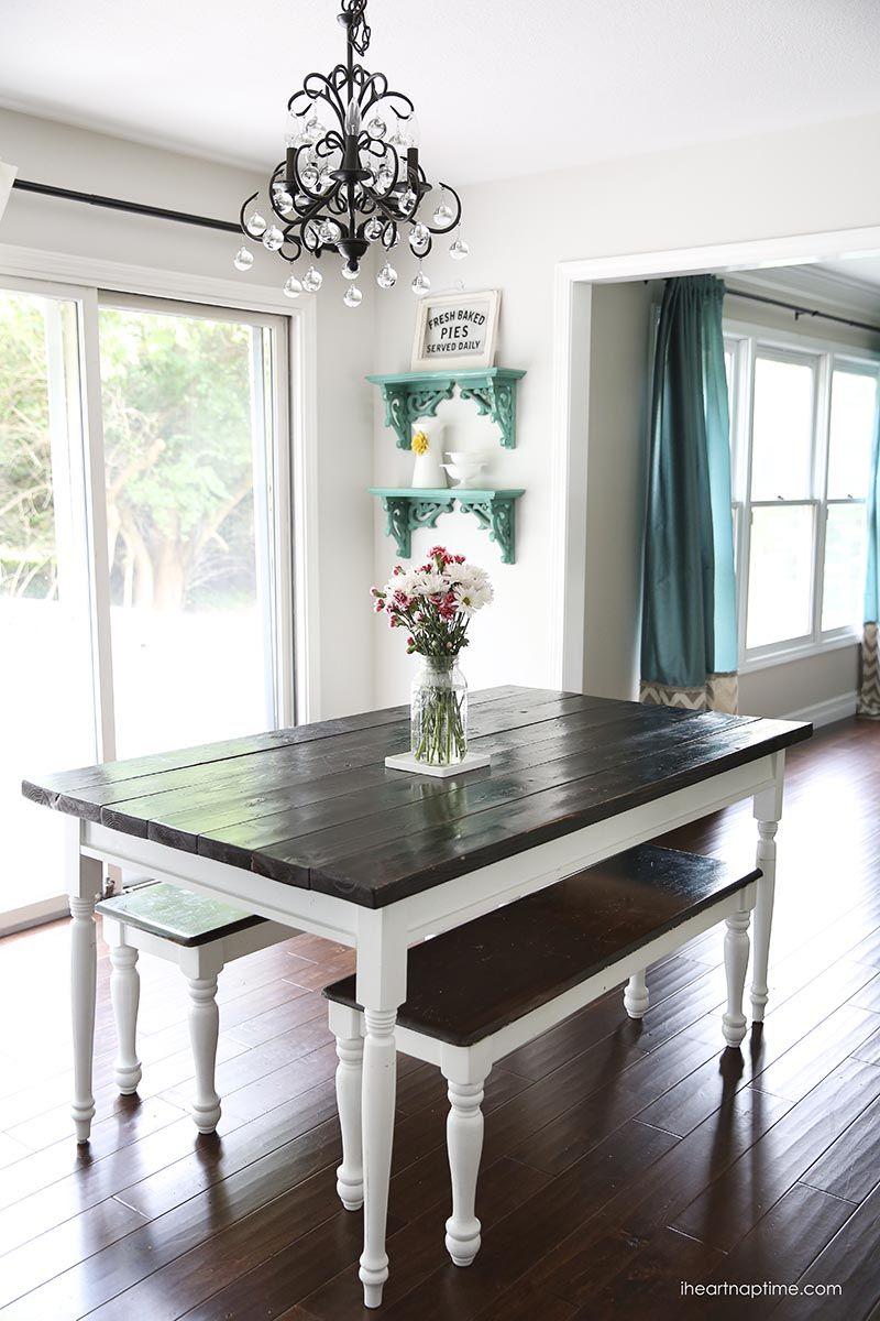White and grey kitchen makeover Farmhouse kitchen tables