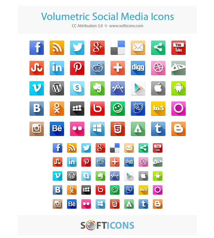 Volumetric Social Media Icons, Android, Apple, Behance