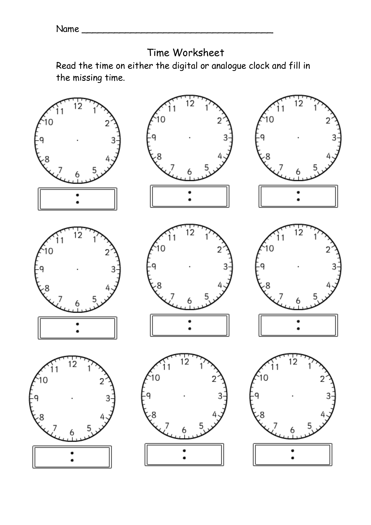 Blank Clock Worksheet Telling Time