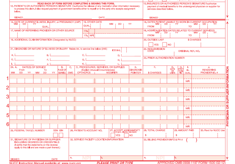 Sample new CMS 1500 CLAIM form CMS 1500 claim and UB 04