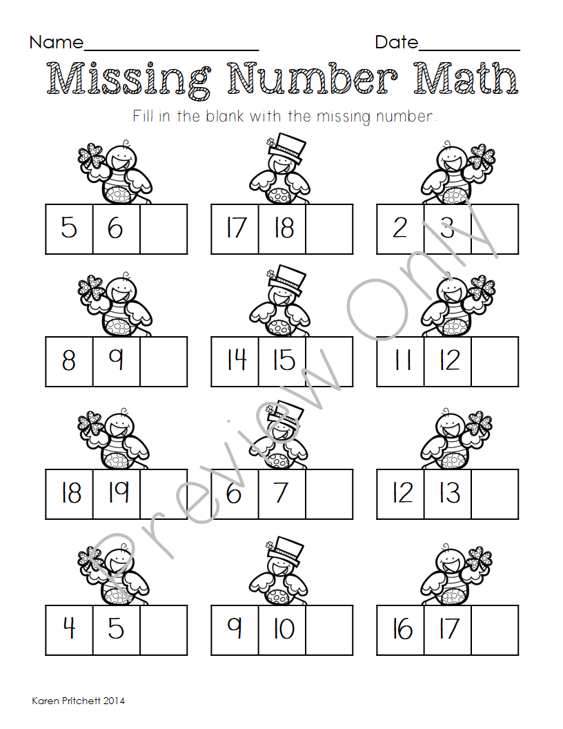 St Patrick's Day March Math sequencing, missing number