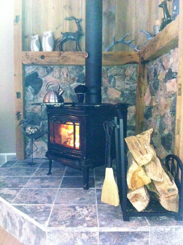 Wood Burning Stove Surround Ideas Rustic Stone Surround