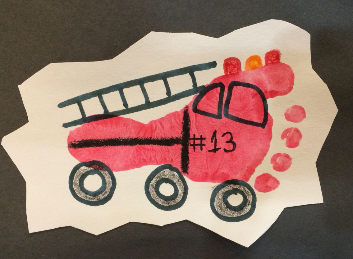 Fire Truck Foot Print Art