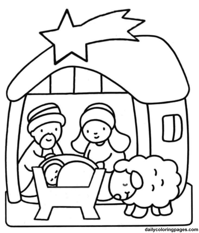 Christmas Coloring Sheets For Kindergarten Nativity Scene Preschoolers And