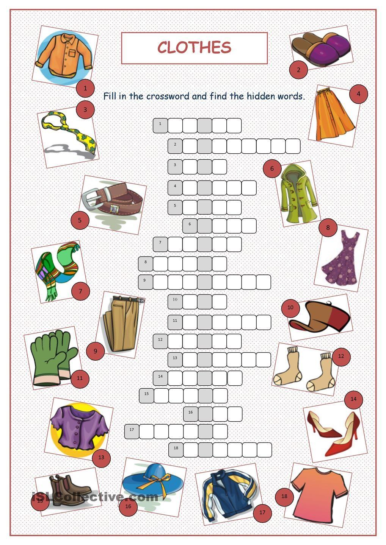 Clothes Crossword Puzzle … Pinteres…