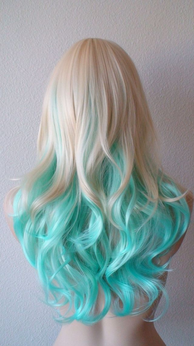 Blonde Mint Teal color  wig wig hair  haircolor scene