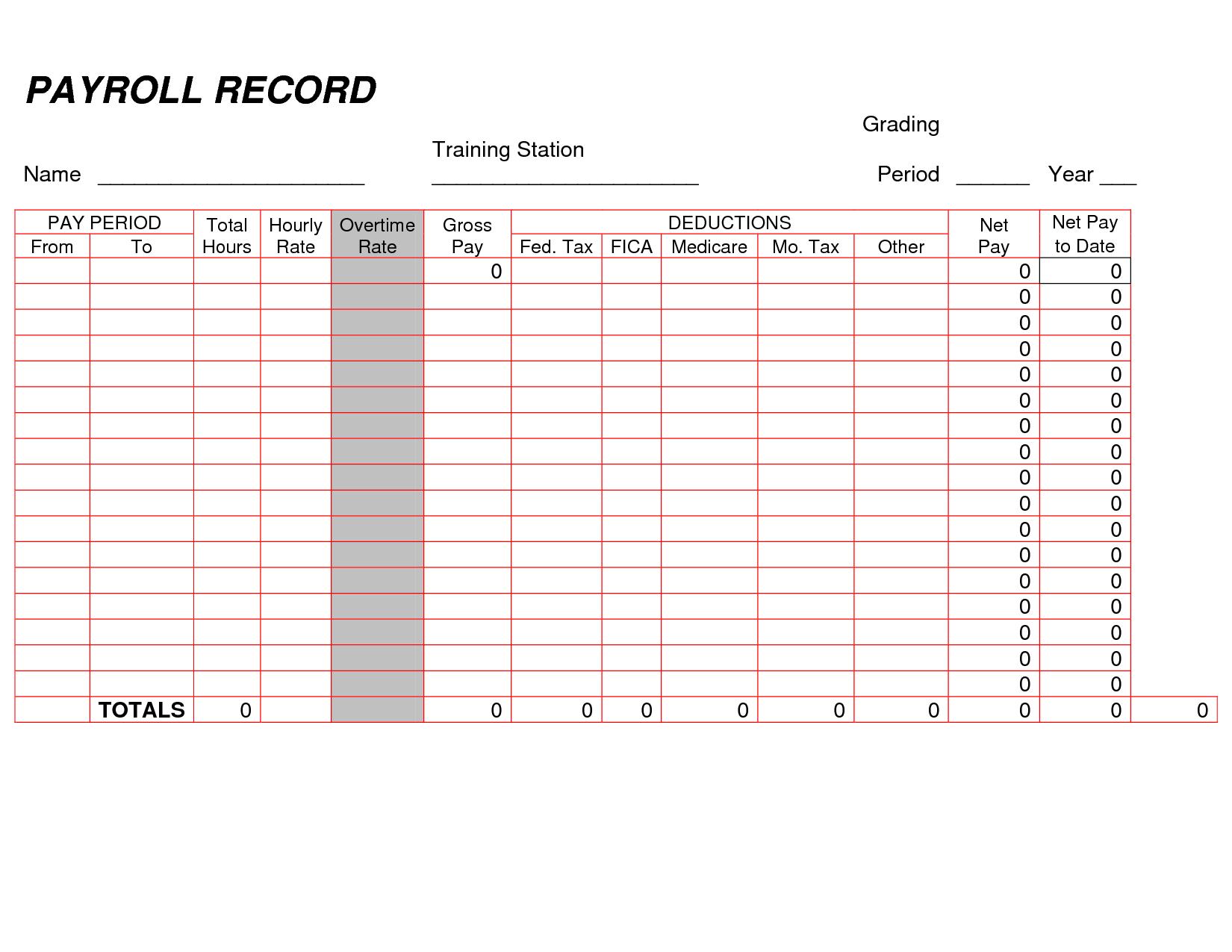 Printable Payroll Ledger Blank Payroll Record