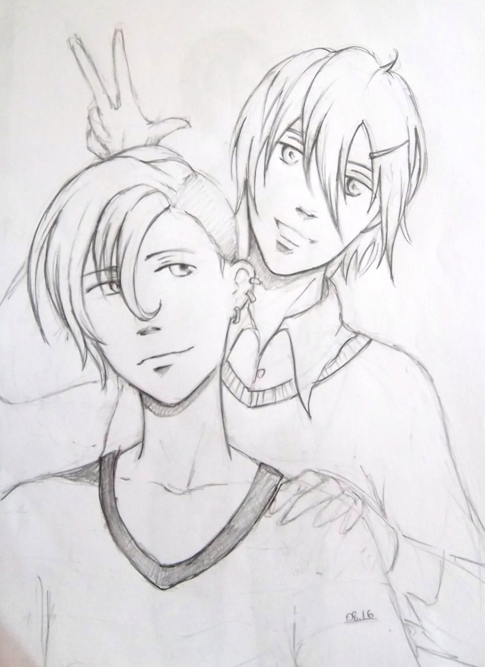 pencil sketch manga/anime boys Szkice i rysunki