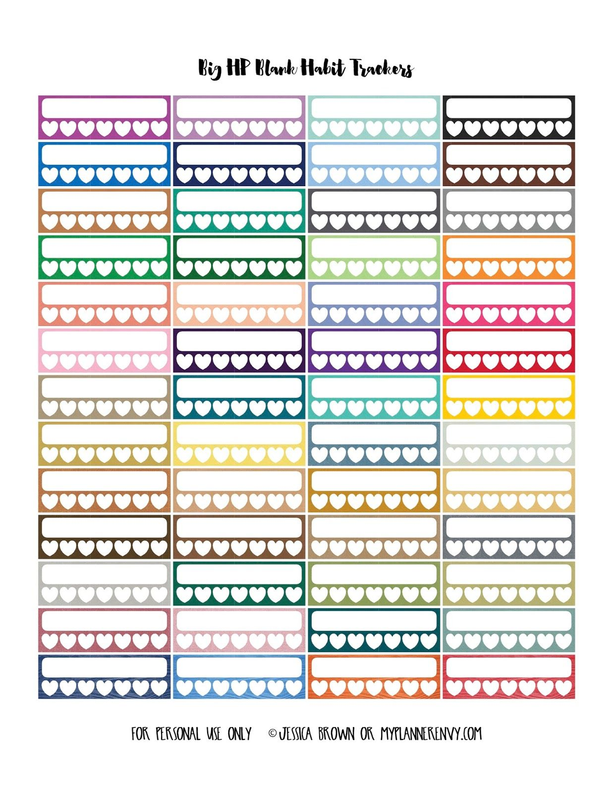 Blank Habit Trackers For The Big Happy Planner From Myplannerenvy