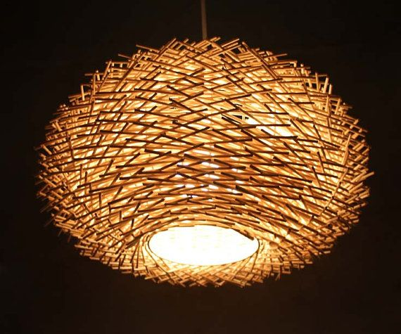 Staggered Form Natural Fine Rattan Bird Nest Pendant Lights Ceiling Lighting Rustic Lamp Chandelier Decor Countryside By Viwei