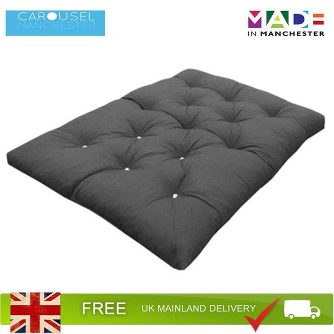 Double Foam Crumb Futon Mattress Roll Out Guest Bed Grey 190cm X 125cm