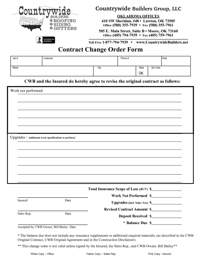 How To Write A Change Order Request: Free Change Order
