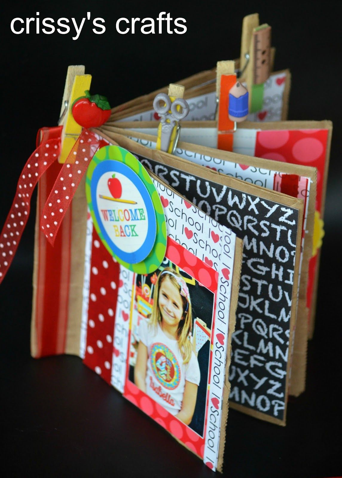 How to make a mini scrapbook made out of paper lunch bags