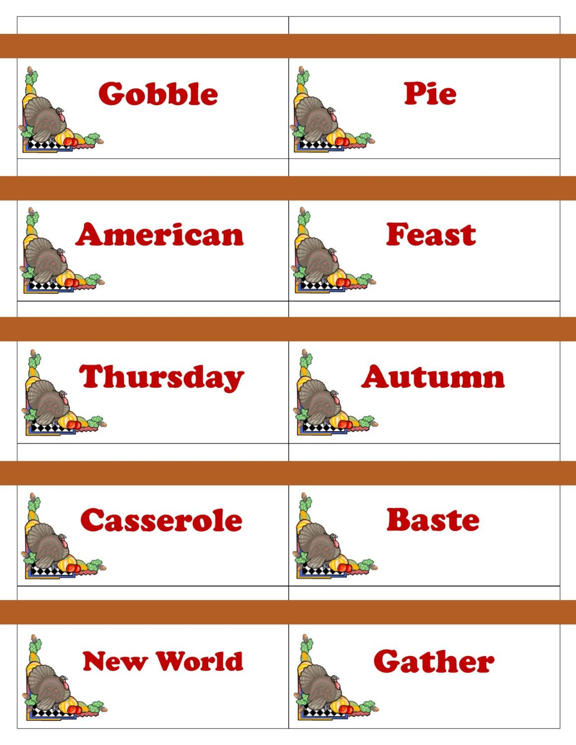 Printable Thanksgiving Game Cards For Pictionary Charades