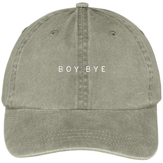 BOY BYE Embroidered Pigment Dyed Washed Cotton Cap - Black at Amazon Women's…: