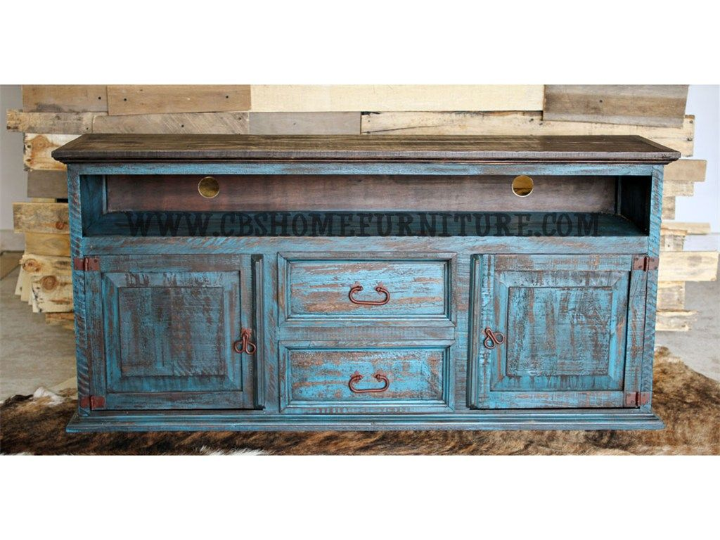Million Dollar Rustic Living Room Turquoise Distressed TV