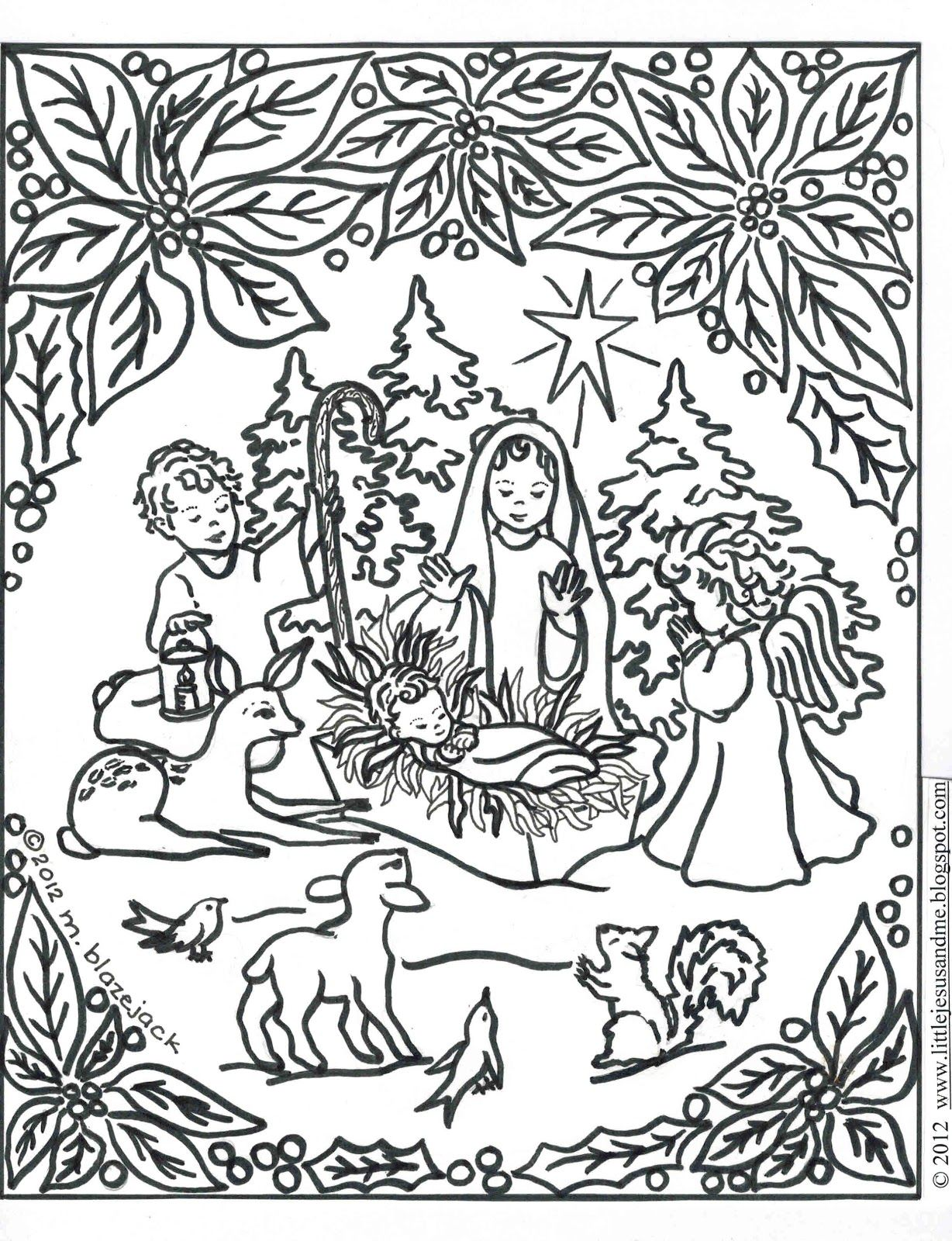 Jesus and Nativity Coloring Page Catholic Crafts