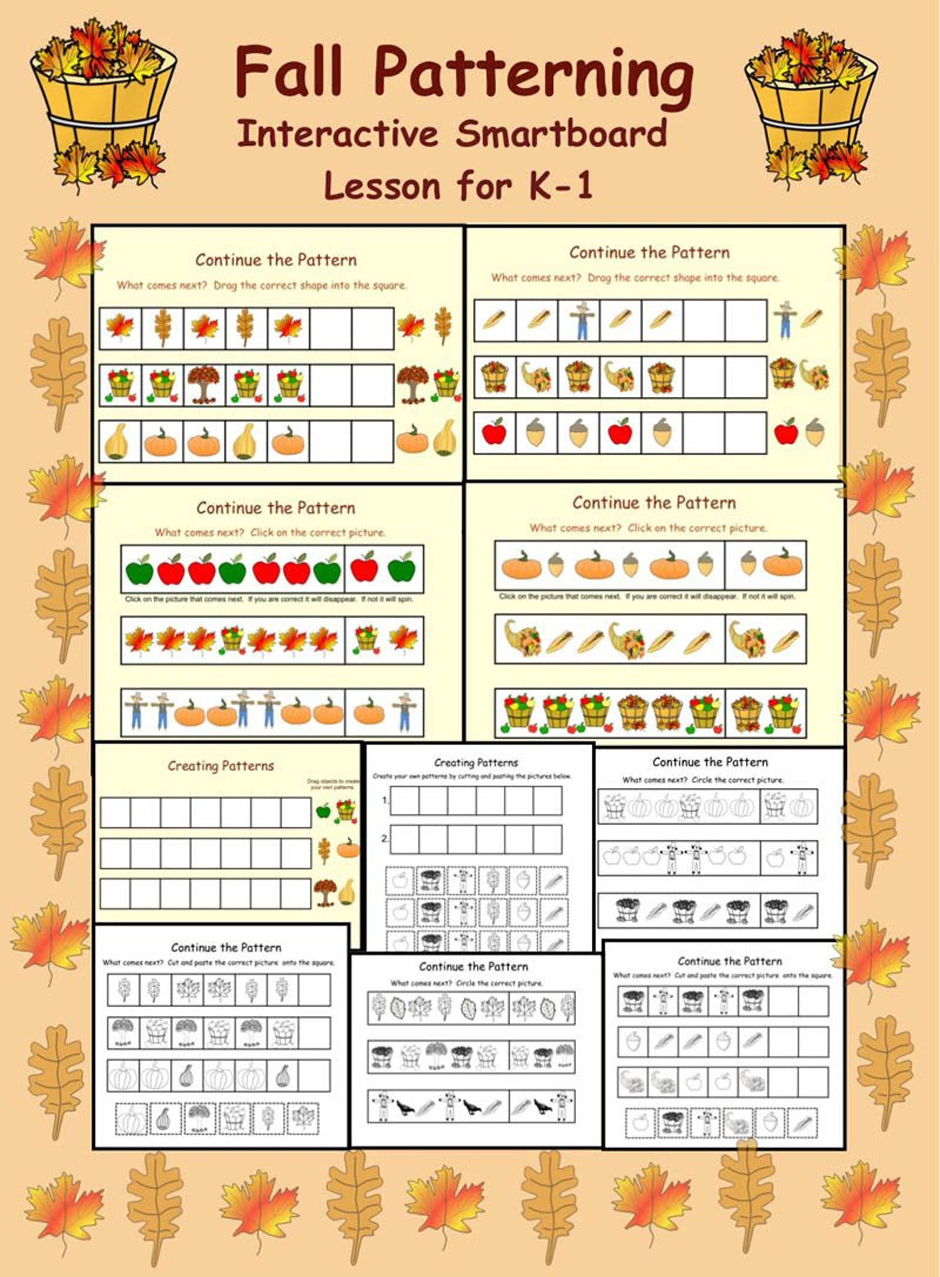 Fall Patterning Smartboard Activities For K 1